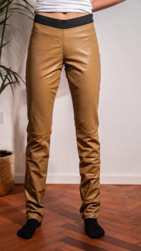 Steffen Schraut Pantalón de cuero marrón arena