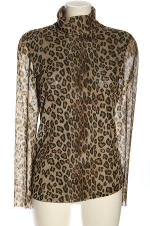 Steffen Schraut Camisa de malla marrón-negro estampado de leopardo look casual