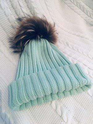 Steffner Chapeau en fourrure turquoise