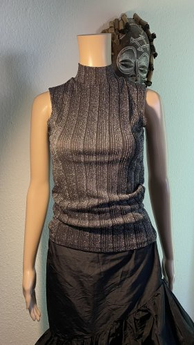 Jean Pascale Ribbed Shirt black-silver-colored