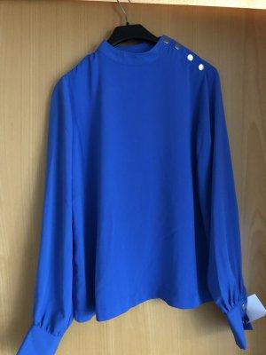Stradivarius Stand-Up Collar Blouse blue-cornflower blue