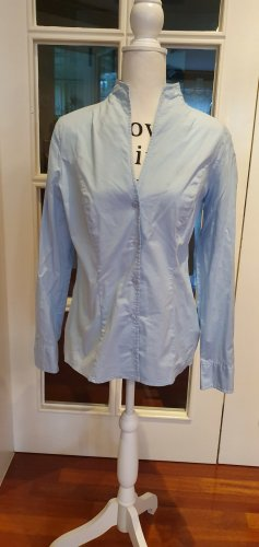 Ashley Brooke Stand-Up Collar Blouse azure cotton