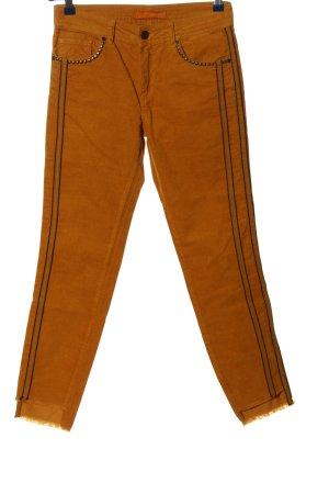 Stehmann Corduroy broek licht Oranje-zwart gestreept patroon casual uitstraling
