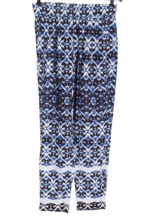 Stehmann Pantalone jersey blu-bianco motivo astratto stile casual