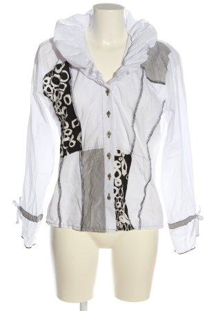 Steilmann Hemd-Bluse weiß-schwarz Mustermix extravaganter Stil