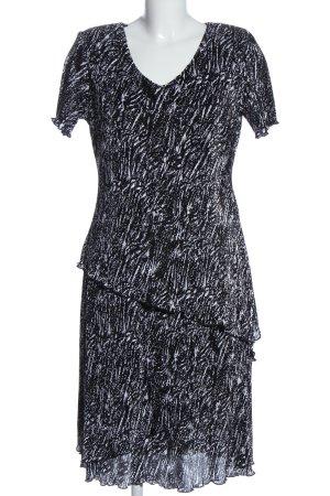 Steilmann Kurzarmkleid schwarz-weiß Allover-Druck Elegant