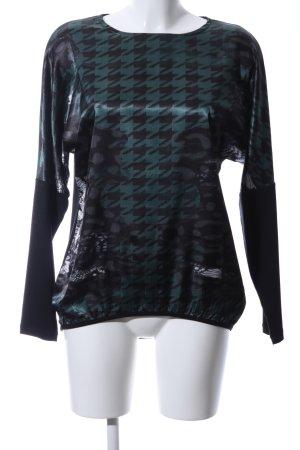 Steilmann Longsleeve schwarz-grün Allover-Druck Elegant