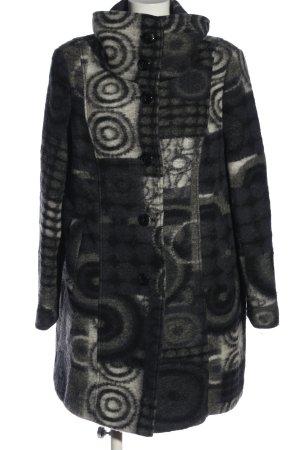 Steilmann Manteau en laine noir-blanc imprimé allover style décontracté