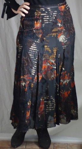 Steilmann, wunderschöner Rock A-Linie - in Bahnen, Muster, Samt Ausbrenner Stoff (d.h. teilweise transparent) 100% Viskose, gefüttert, dunkelbraun, schwarz, orange/rost, ocker, figurschmeichelnde A-Linie, zaubert eine schöne Figur, Gr. M, Gr. 40, neuwerti