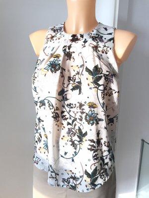 Steinfarbenes Oberteil * Ärmellose Bluse * Größe XS * 32/34 * mit Blumenmuster