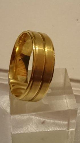 Steinles Steel Gold Ring Gr.23 / 8mm breit. Unisex