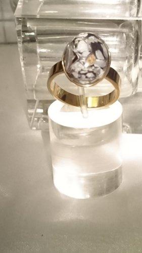 Steinles Steel Ring Gold Murano Glas Gr.19