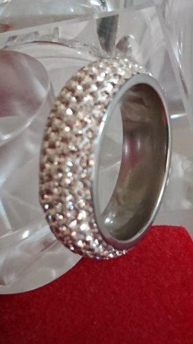 Steinles Steel Ring mit Swarovski Glitzersteine Gr.18