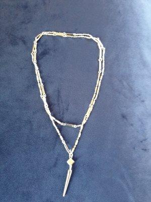 Stella & Dot Naszyjnik srebrny Tkanina z mieszanych włókien
