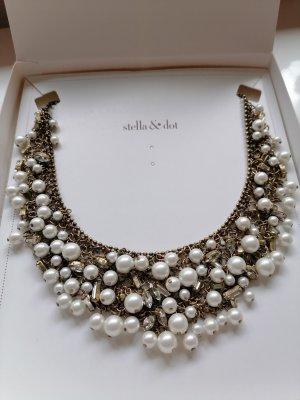 Stella & Dot Cadena de cuentas blanco-color bronce
