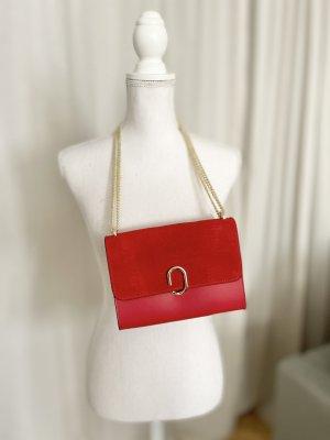 Stella Dutti Luxus Handtasche Clutch Kette gold rot Leder NEU