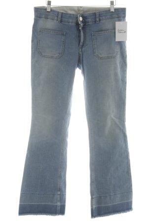 Stella McCartney Jeansschlaghose himmelblau-weiß Logo-Applikation aus Leder