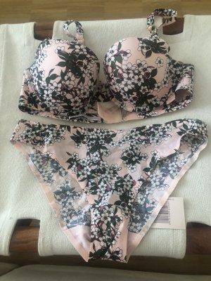 Stella McCartney Pink Chalk Japanese Blossom BH/Tanga Set Pink 80B M NEU