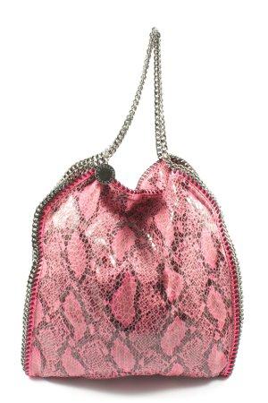 Stella McCartney Schultertasche pink-schwarz Animalmuster Glanz-Optik