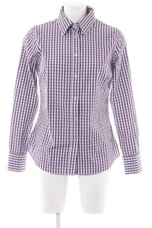 stenströms feminine Langarmhemd dunkelviolett-weiß Karomuster Elegant