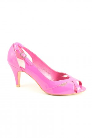 Stephan Sandalias de tacón de tiras rosa elegante
