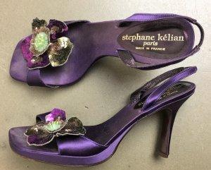 * STEPHANE KELIAN * Sandale Leder Seide violett festliche Blume Pallietten Verzierung Gr UK 6 Gr 39