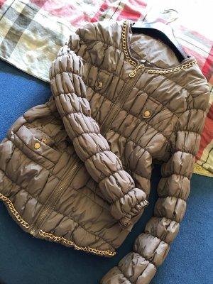 100% Fashion Giubbotto trapuntato marrone-grigio-marrone chiaro