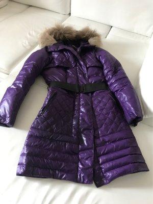 Cappotto trapuntato viola scuro-nero