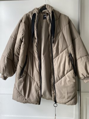 Zara Quilted Coat grey brown