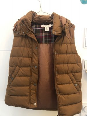 H&M L.O.G.G. Quilted Gilet brown-cognac-coloured polyester