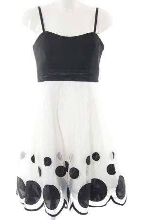 Steps Bandeaukleid weiß-schwarz Punktemuster Elegant