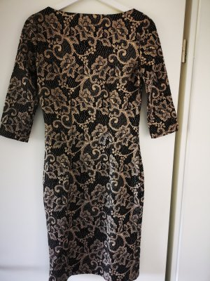Steps Kleid Jacquard Muster Cocktail Abend Etui Kleid 34 XS Gold