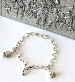 Sterling Silber Bettelarmband mit 3 Charms