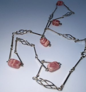 925er Silber Collana rosa pallido Tessuto misto