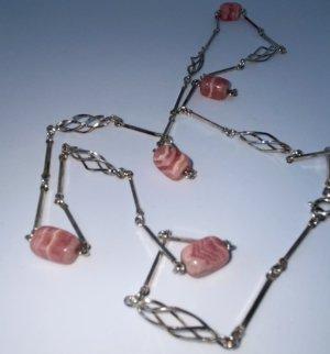 Sterling- Silber Kette mit Halbedelsteinen Rhodochrosit - tolle Verarbeitung