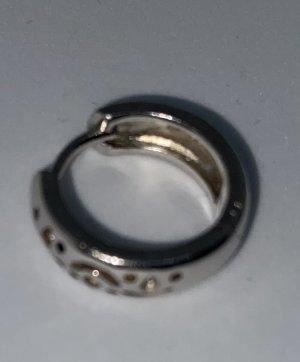 925er Silber Orecchino a cerchio grigio chiaro Tessuto misto