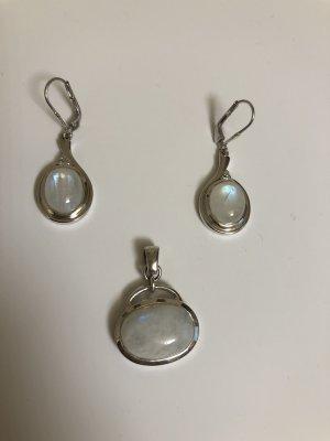 Sterlingsilver Opal Set mit Ohrringen und Anhänger