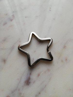 Stern Star Schlüsselanhänger Schlüsselring Metall silber