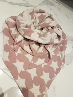 Écharpe en laine rose clair-blanc cassé