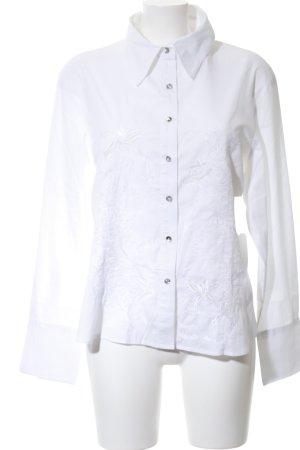 Steve Ketell Langarmhemd weiß Blumenmuster Elegant