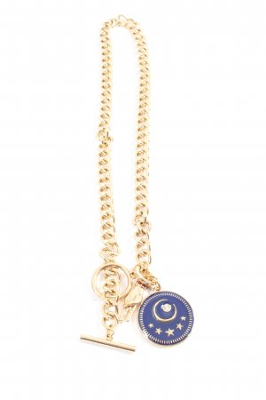 Steve Madden Collier Necklace gold-colored-blue wet-look