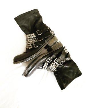 Steve Madden • leder boots • schwarz • silber