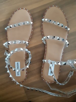 Steve Madden Strapped High-Heeled Sandals silver-colored-camel