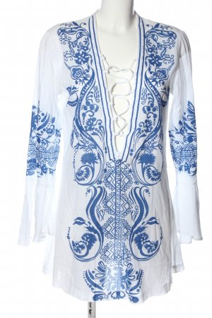Steve Madden Slip-over Blouse white-blue abstract pattern casual look