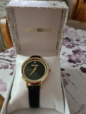 Steve Madden Watch With Leather Strap black
