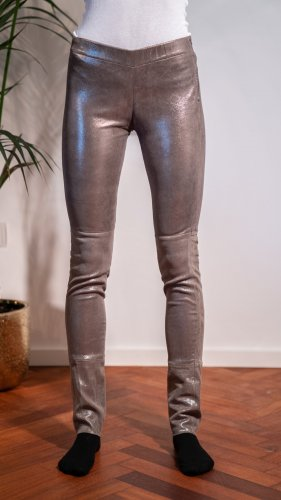 Steven-K Pantalón de cuero gris Cuero
