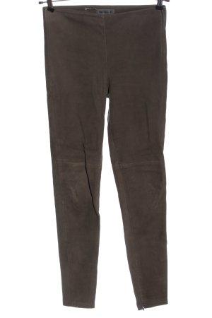 Steven-K Pantalón de cuero marrón look casual