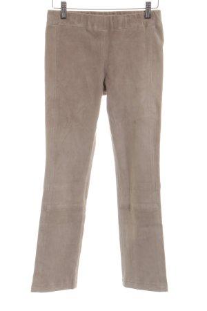Steven-K Pantalon en cuir blanc cassé style décontracté