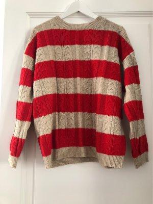 Mango Basics Warkoczowy sweter jasnobeżowy-czerwony Poliamid