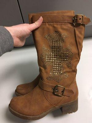 Futrzane buty brązowy-złoto